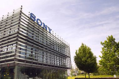 Sony company logo on headquarters building