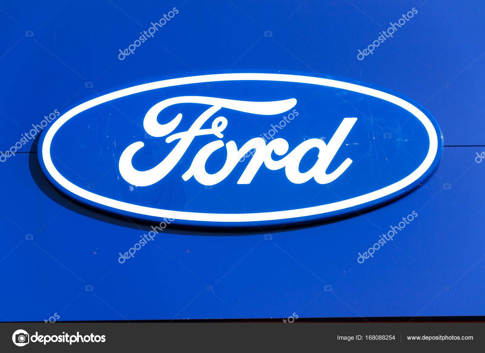 Ford Motor Company Logo On Dealership Building Stock Editorial