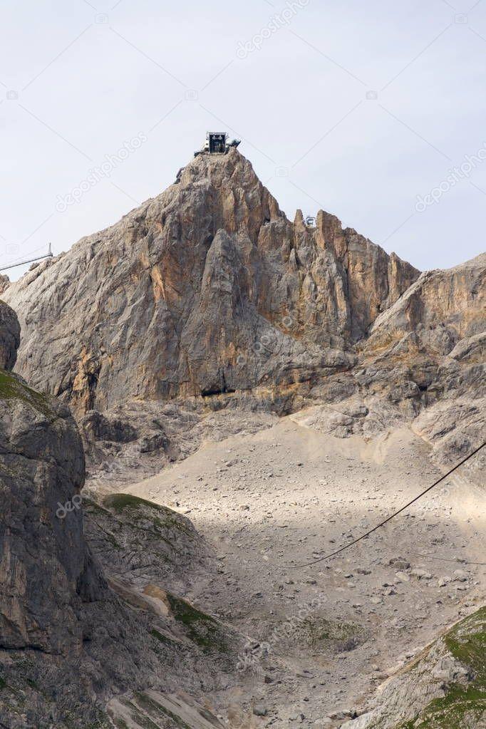 Dachstein Hunerkogel mountain station with the Austrias highest suspension bridge