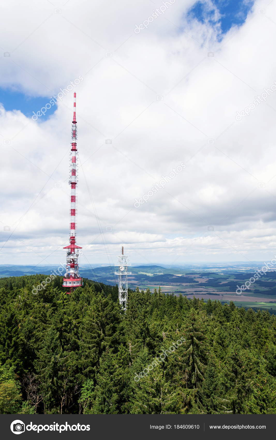 Two Telecommunication Towers Transmitters Aerials Forest Sunny ...
