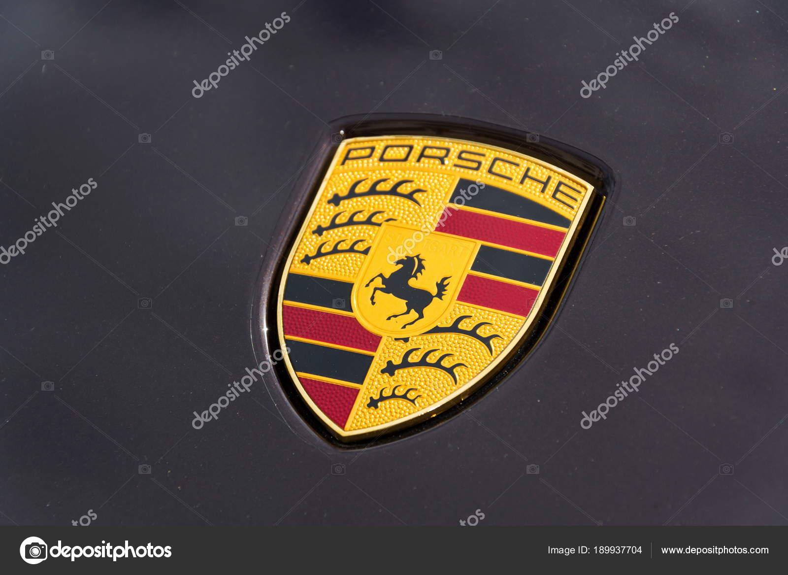 Prague Czech Republic March 2018 Porsche Automotive Company Logo Car