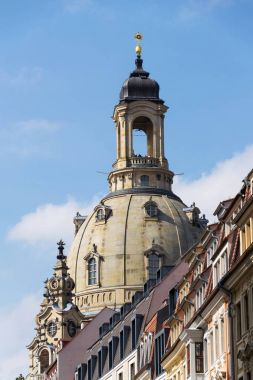 Dome of Lutheran church Dresden Frauenkirche, Church of Our Lady, in Dresden, Germany, sunny day, blue clear sky