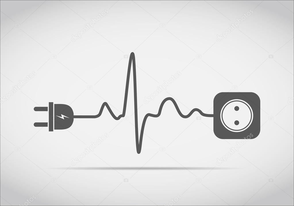 Heartbeat Line Art : Extension cord in the form of heartbeat vector illustration