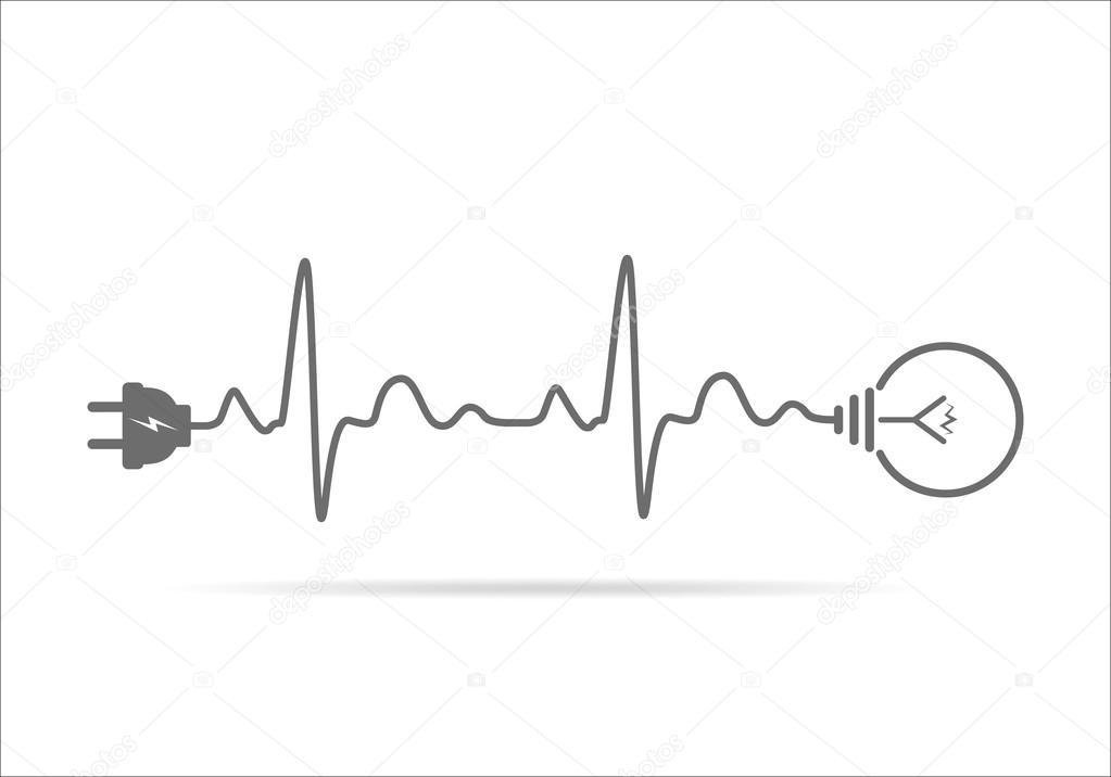 Kabel Stecker und Glühbirne flache Symbol. Vektor-illustration ...