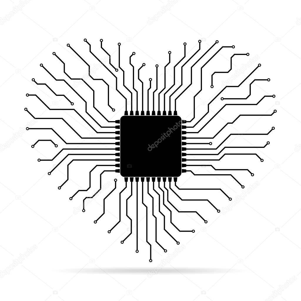 tarjeta electr u00f3nica con chip en forma de coraz u00f3n  ilustraci u00f3n de vector  u2014 archivo im u00e1genes