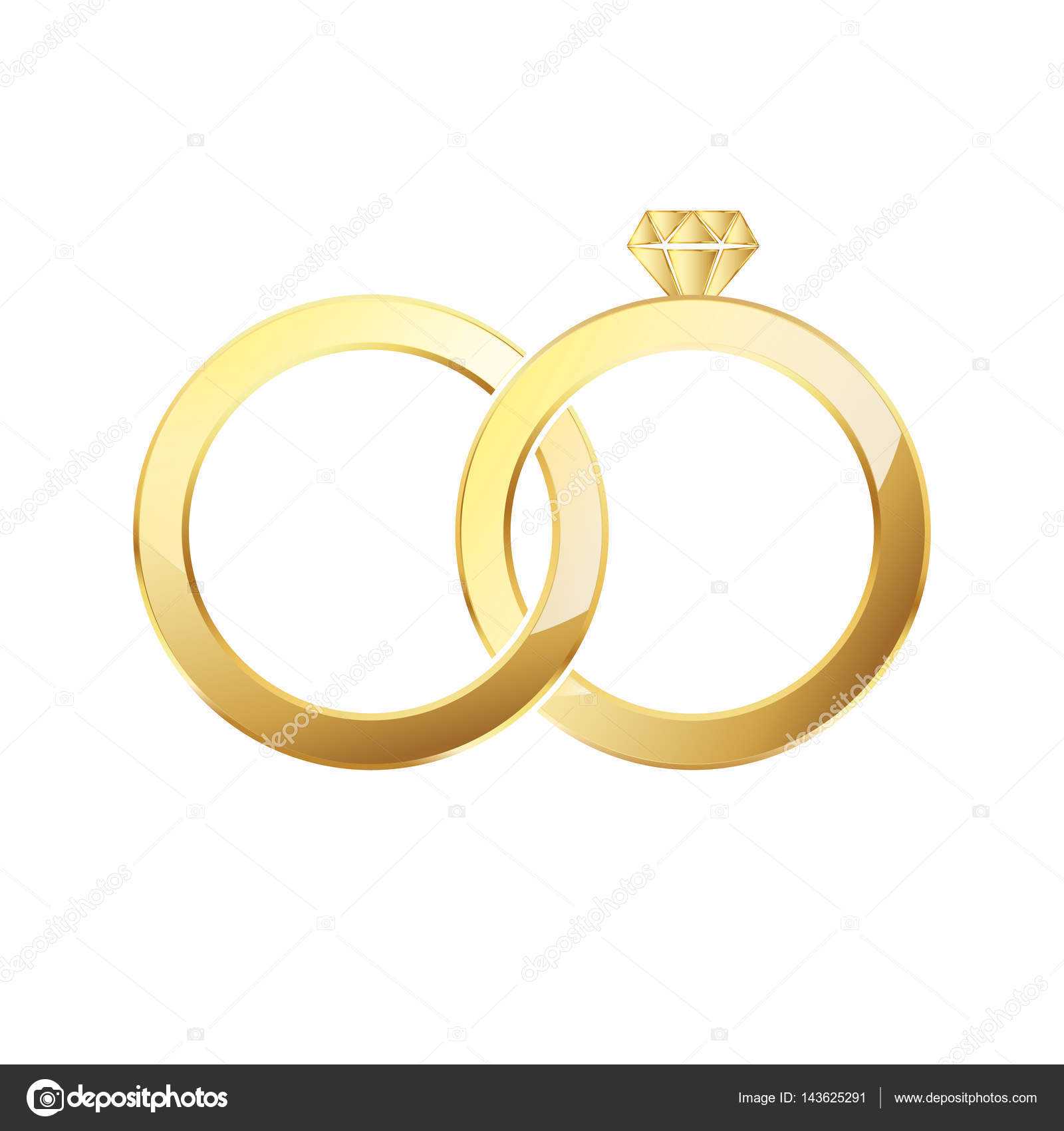 Couple of gold wedding rings isolated. Vector illustration ...