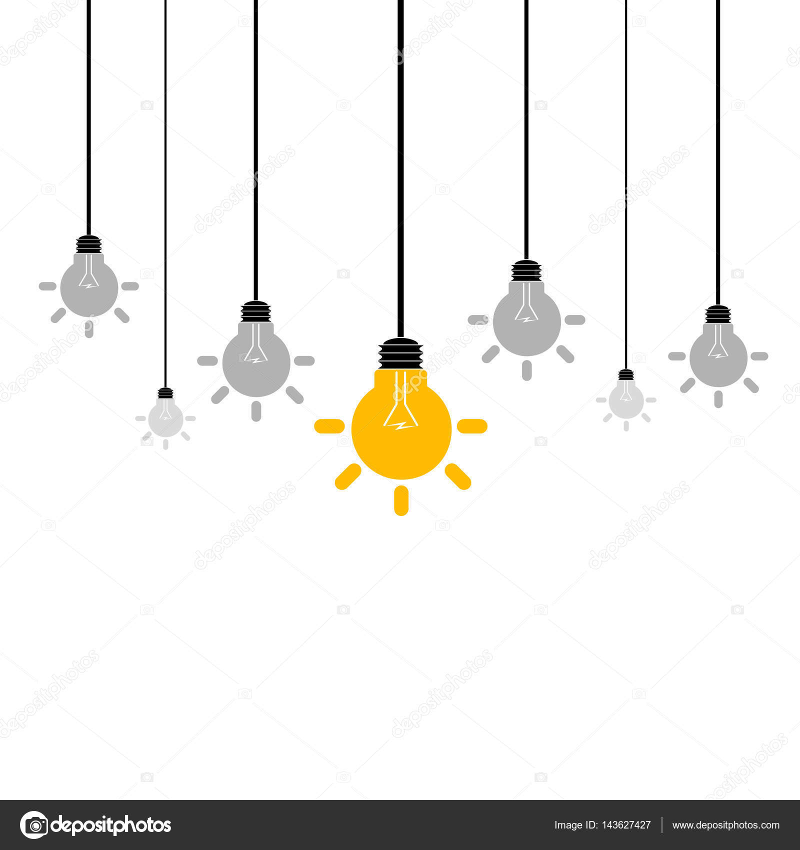 Hanging Lamp Vector: Abstract Hanging Light Bulbs. Vector Illustration.