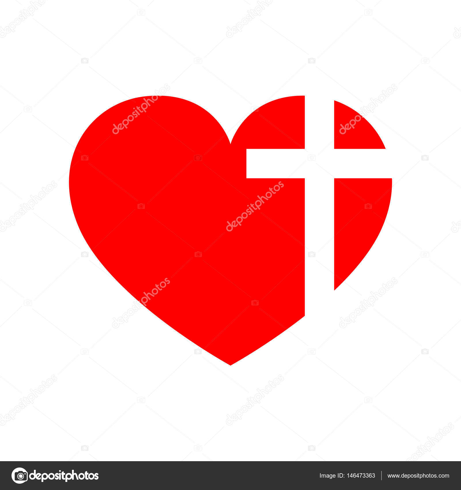 heart with christian cross vector illustration � stock