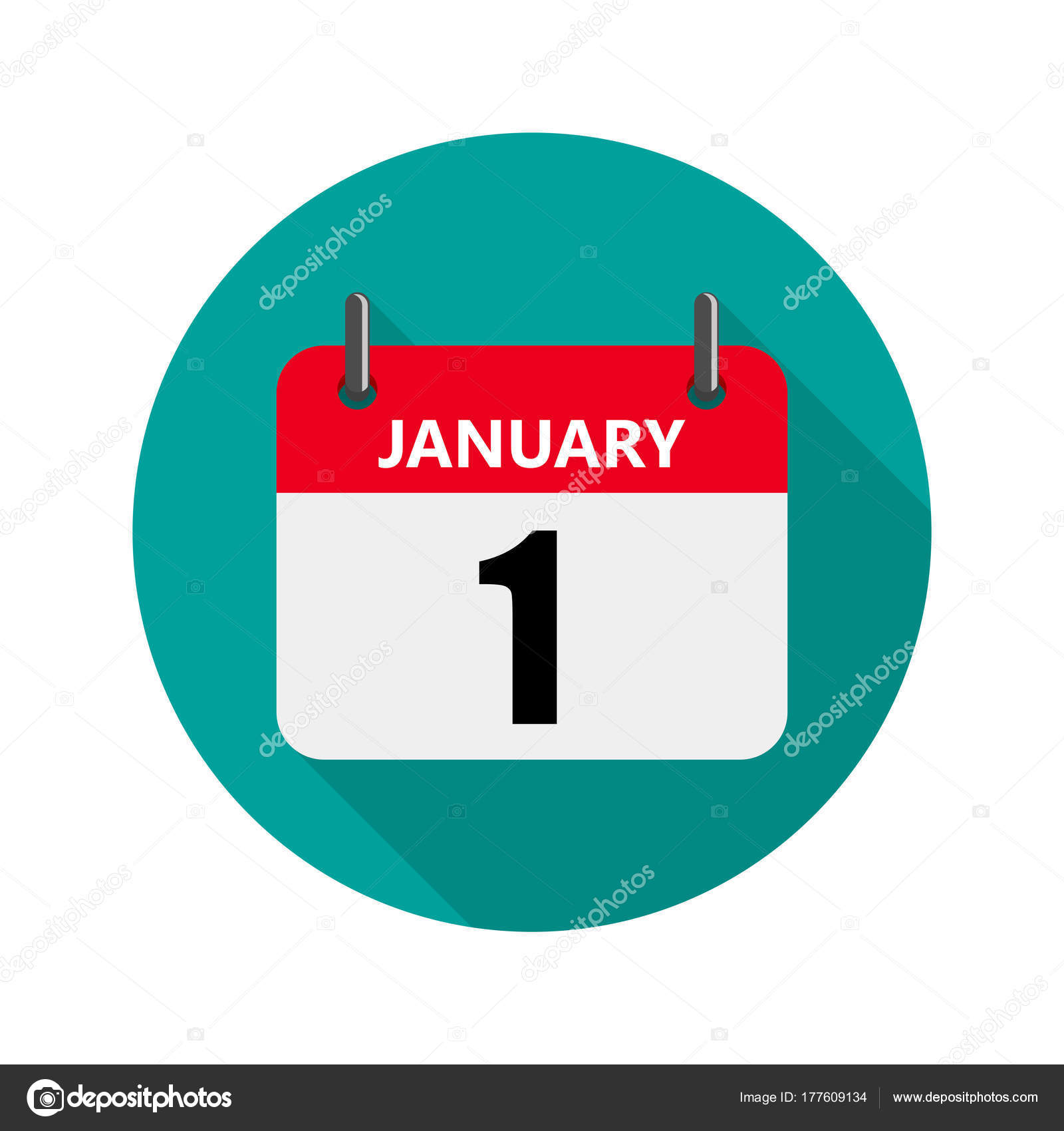 january 1 calendar icon in a flat design vector illustration the concept of celebrating the new year vector by chekman1
