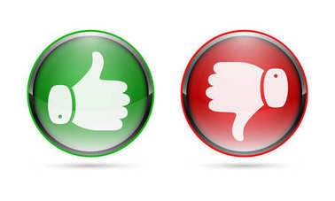 Thumb up and thumb down buttons. Vector illustration