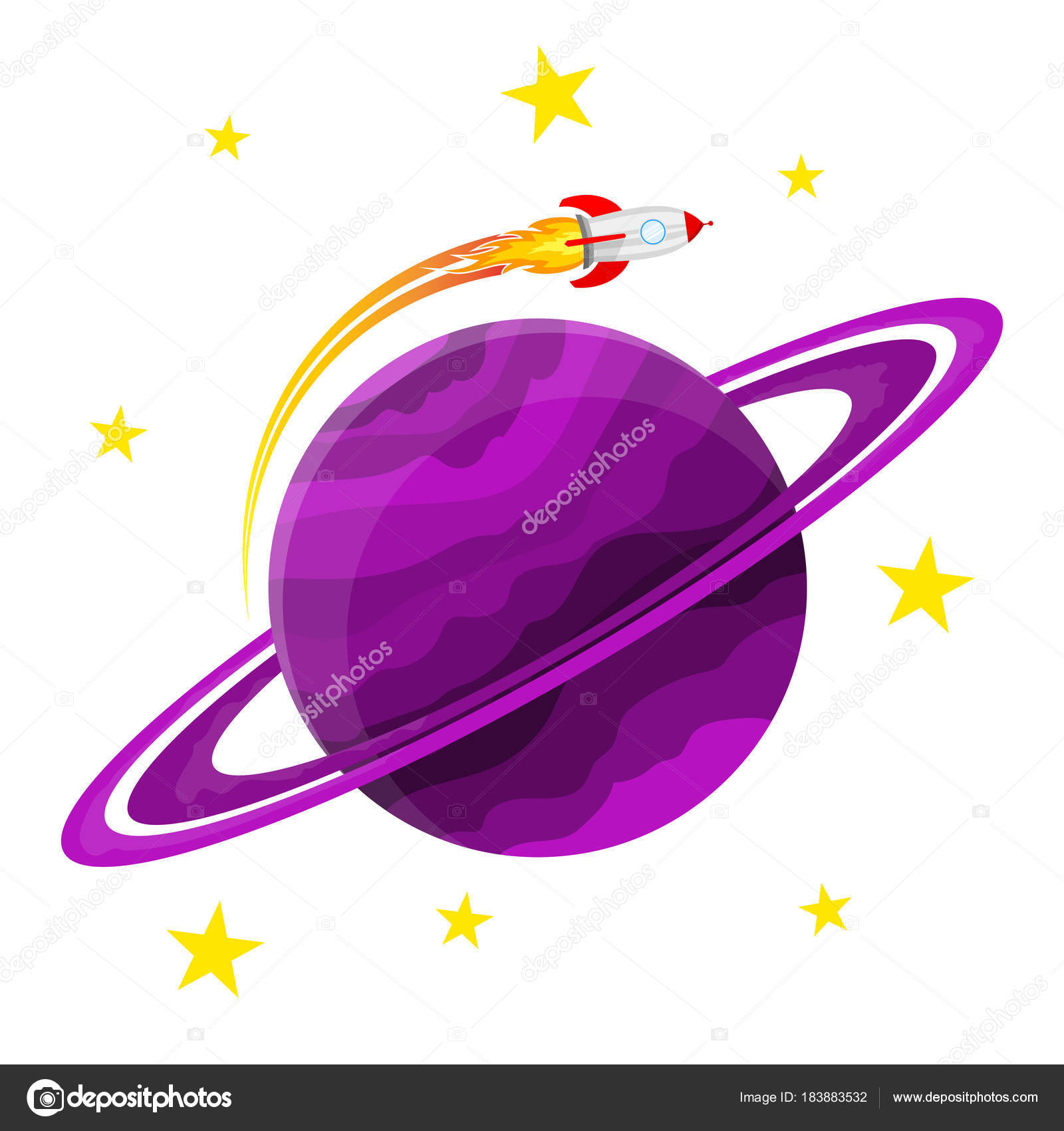 Planet Icon With A Rocket Vector Illustration Stock Vector