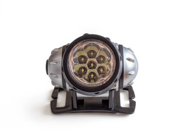 Led flashlight with head mount, for tourists