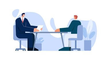 Two interviewing male job searching talking at office vector flat illustration