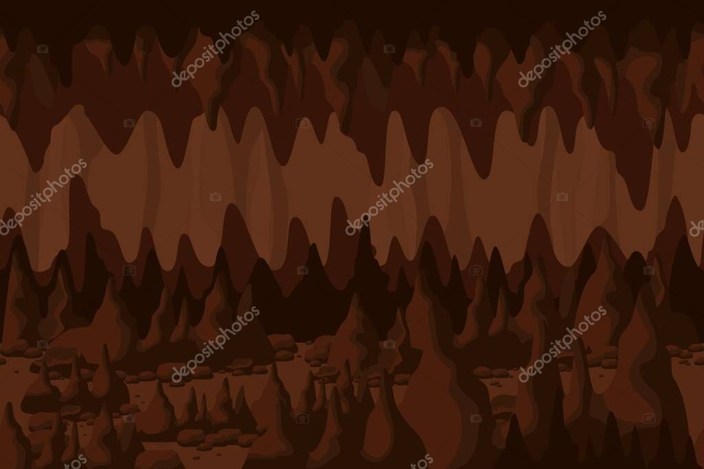 Mystery Colorful Cave Tunnel Landscape Background Structure Of Natural Rock Formation Stalactites And Stalagmites Backdrop Cartoon Fantasy Indoor Mountain Scenery Underground Cavern With Stone Premium Vector In Adobe Illustrator Ai