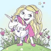 Chica montando un unicornio