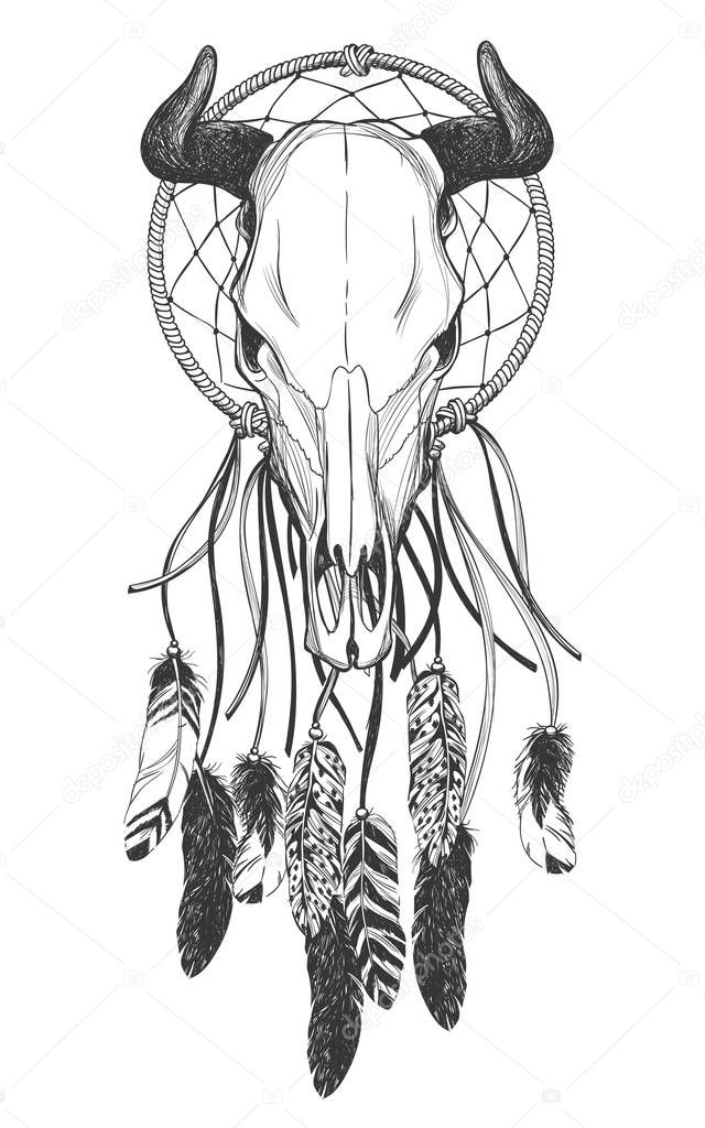 Tatuajes indios americanos plumas | Cráneo de Toro con plumas y el ...