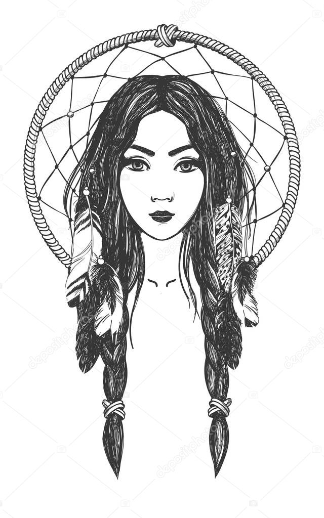 Mujer con plumas y el cazador de sueños — Vector de stock © Martimar ...