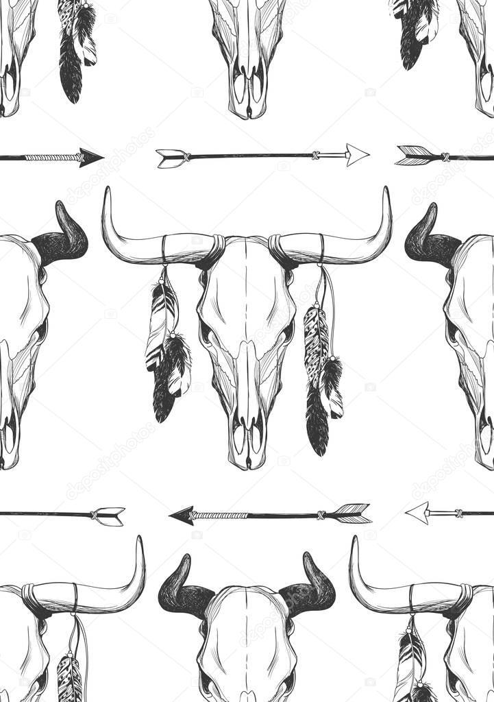 Patrón de vector transparente de cráneo de Toro — Vector de stock ...