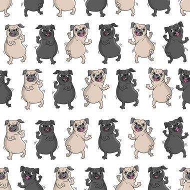 Dancing pugs. Seamless vector pattern.