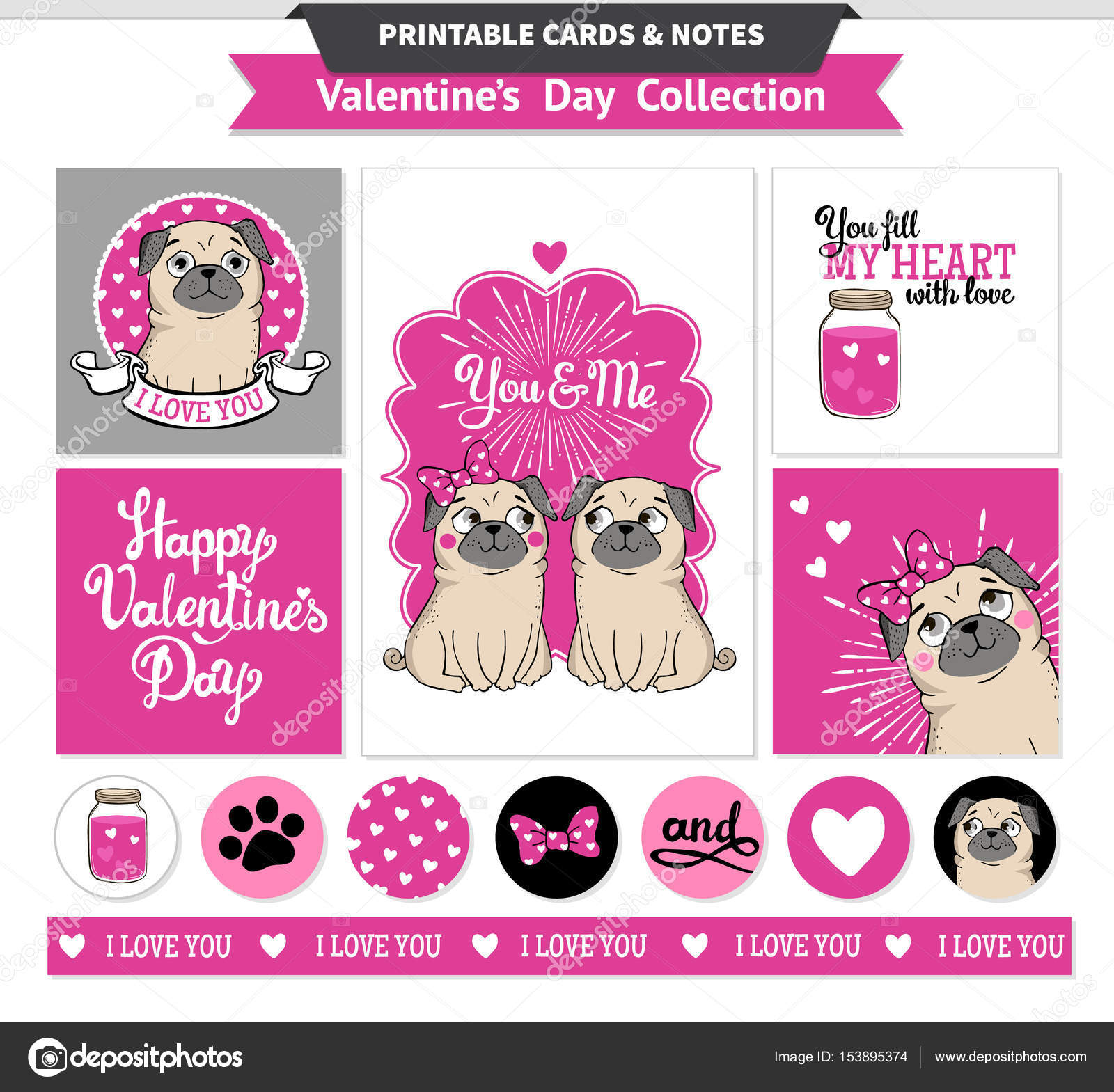 photo about Happy Valentines Day Banner Printable known as Valentines working day printable mounted wih amusing pugs. Inventory Vector