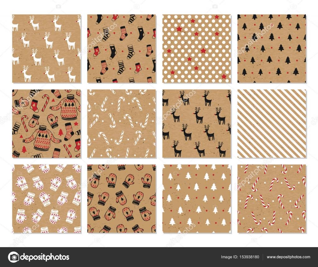Mano de Navidad dibujado vector tarjetas imprimibles — Vector de ...