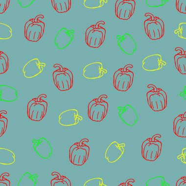 Bright seamless pattern in the form of pepper vegetables. Cover design, wallpaper design, textile print.