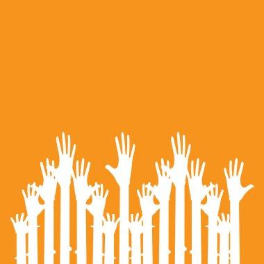Hand symbol community care logo vector illustration design