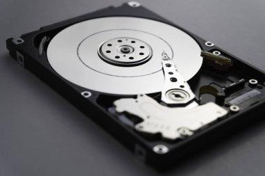 Close up of hard disk's internal mechanism hardware. Soft focus