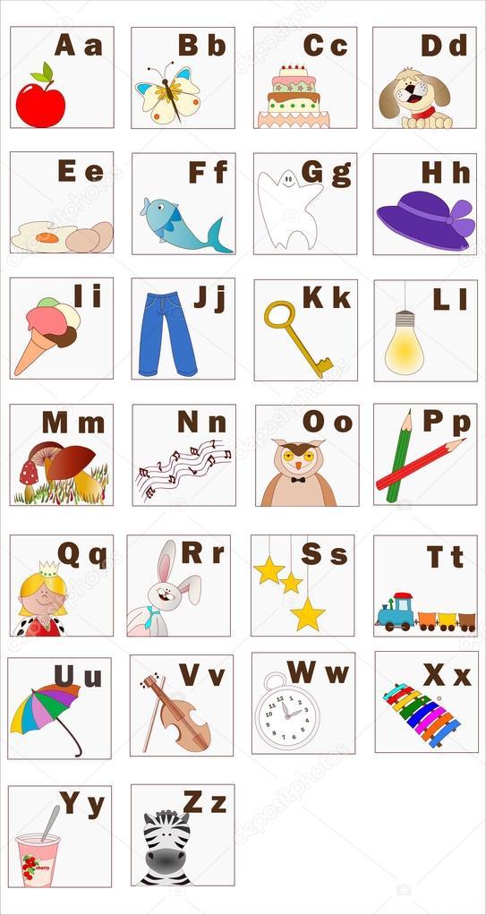 Fabuloso Alfabeto Inglês com objetos e letras — Vetores de Stock © alenaif  NG13