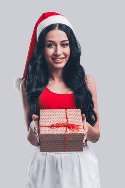 Beautiful woman in Santa hat