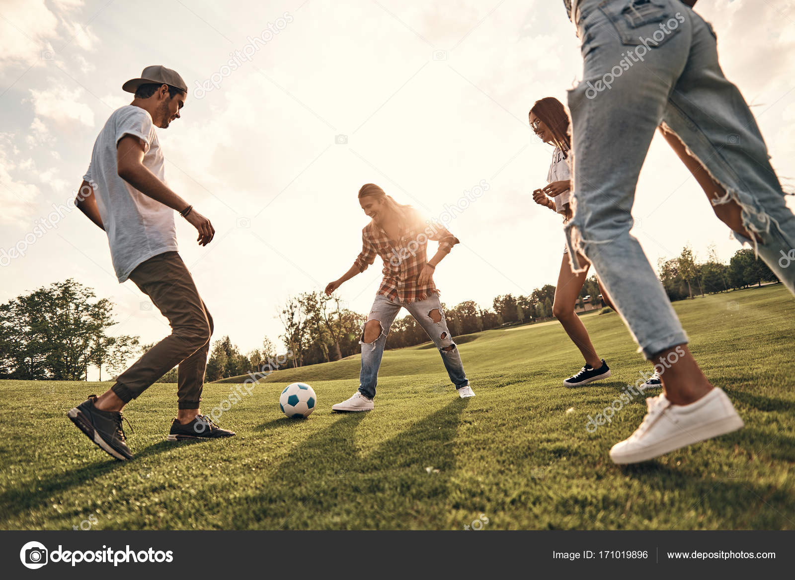 Best friends playing football — Stock Photo © gstockstudio ...