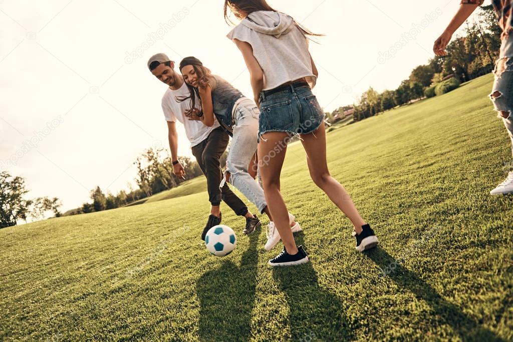 Best friends playing football — Stock Photo © gstockstudio ...