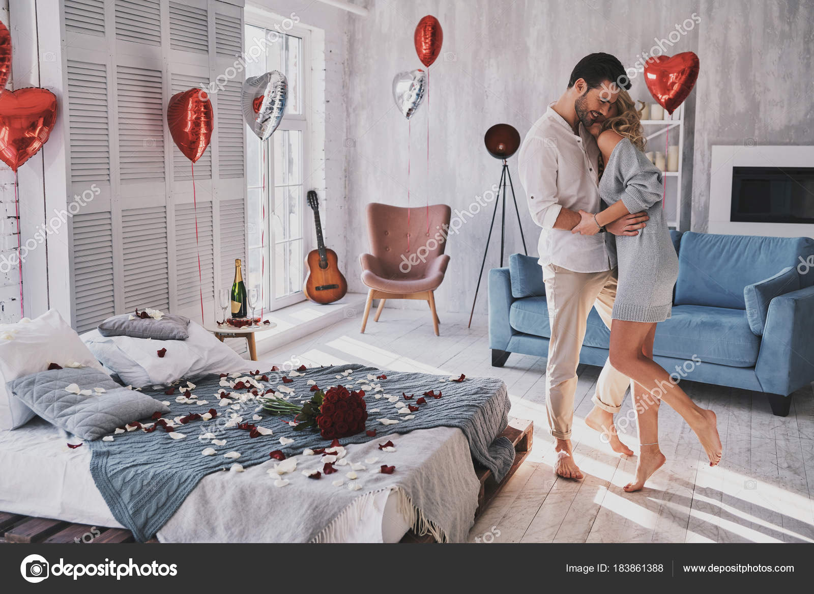 Totally Love Beautiful Couple Embracing Bedroom Full Balloons Rose Petals Stock Photo Image By C Gstockstudio 183861388