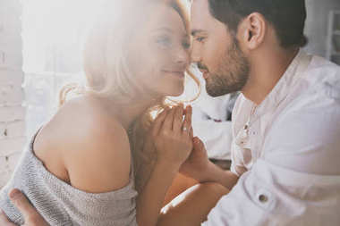 close up portrait of Beautiful young couple in love bonding and smiling