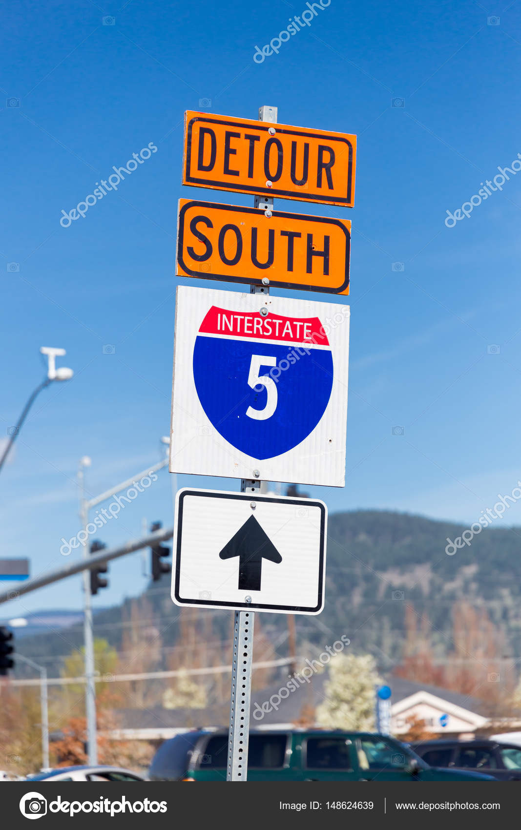 Interstate 5 South Detour Sign – Stock Editorial Photo
