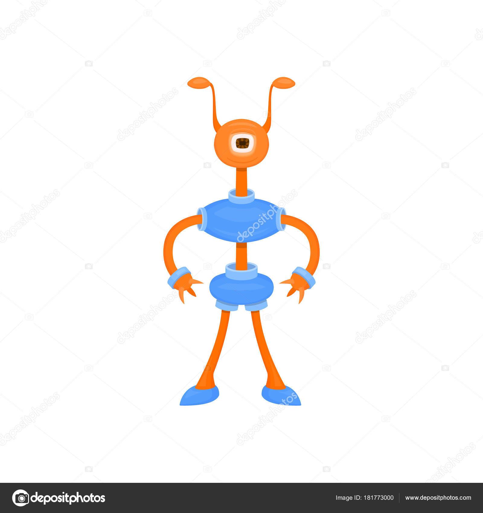 562c06baf7 Χαριτωμένο αλλοδαπός cyborg με κέρατα και ένα μάτι. Διάνυσμα καρτούν  εικονογράφηση για παιδικά πάρτι και