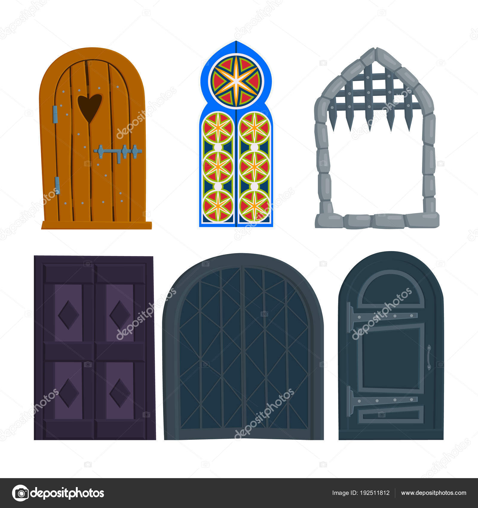 Set of old doors wooden iron antique Oriental castle gate. vector flat illustration in cartoon style isolated on white background. \u2014 Vector by ZsmArt  sc 1 st  Depositphotos & set of old doors wooden iron antique Oriental castle gate ...