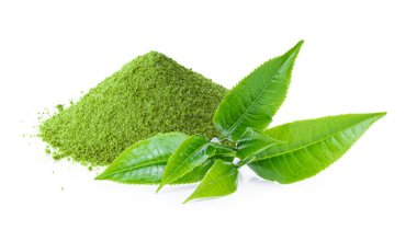 instant matcha green tea with leaf on white background