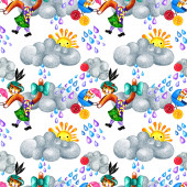 Photo A seamless pattern with a mom-cat and a kitten, which are walking in the rain. A colored pencils drawing In retro style on white  background.