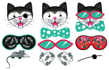 A collection of funny meowing cats and a variety of glasses. Elements of design for children's games. Color pencil drawing.