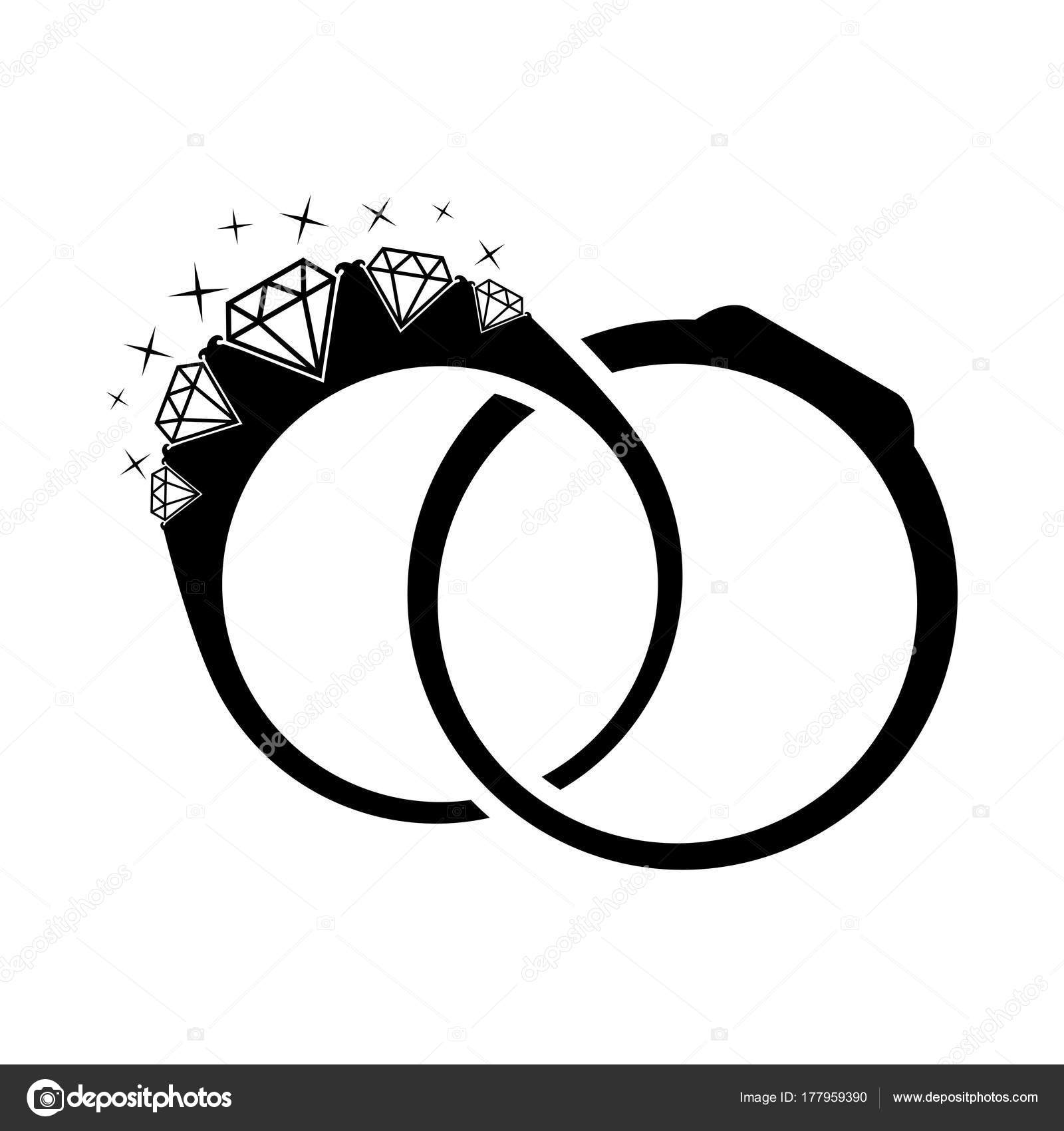 Wedding Rings With Diamond Illustration Silhouette Diamonds On A White Background: And Wedding White Rings Black Sulowett At Reisefeber.org