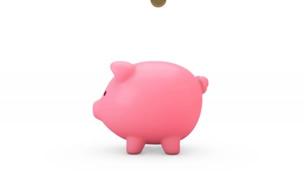 A malacperselybe hulló aranyérmék 3D animációja. Rózsaszín malac bank Nagyobb lesz, ha megkapja érméket.Pénztakarékos koncepció.Elszigetelt