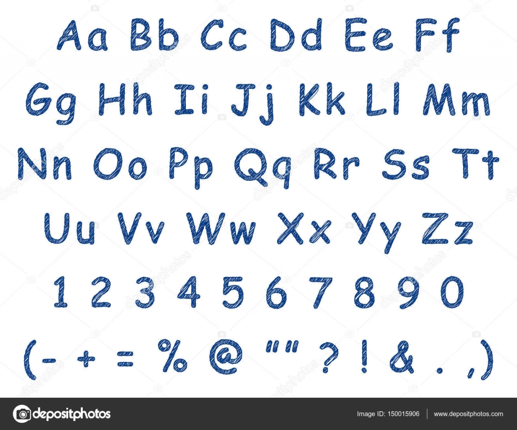Handwritten letters english alphabet blue pen — Stock Vector ...