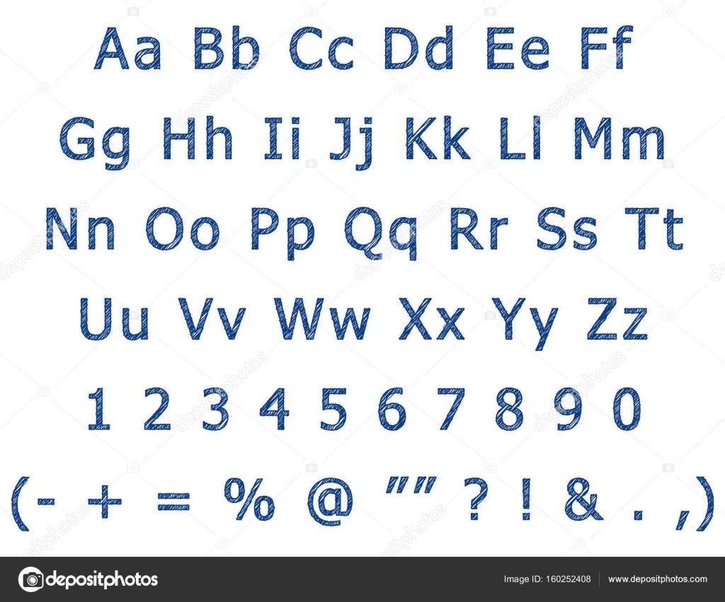 Pen Hand Tekenen Van Het Engelse Alfabet Letters Stockvector