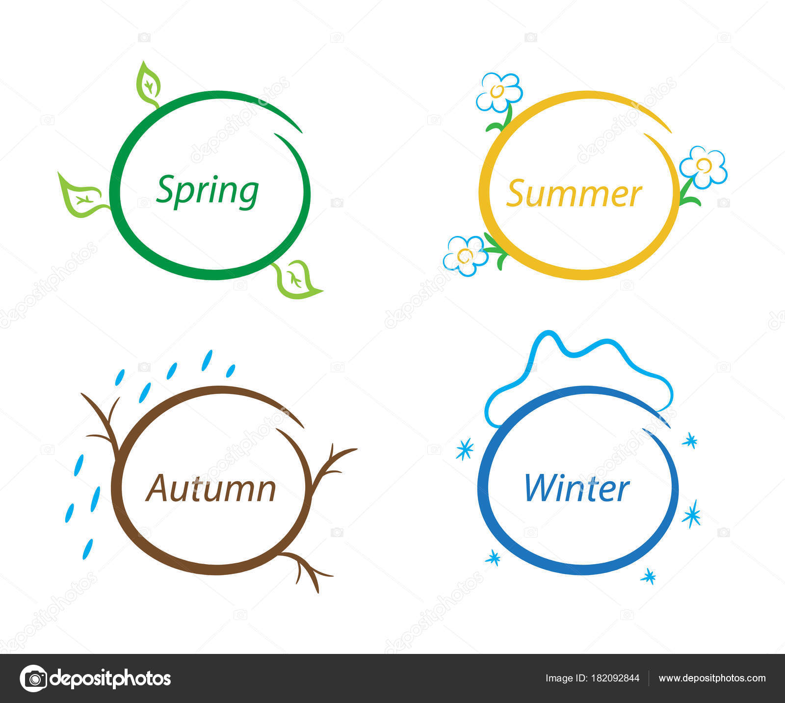 Fun Note Frames Nature Seasons Set Design Elements Vector ...