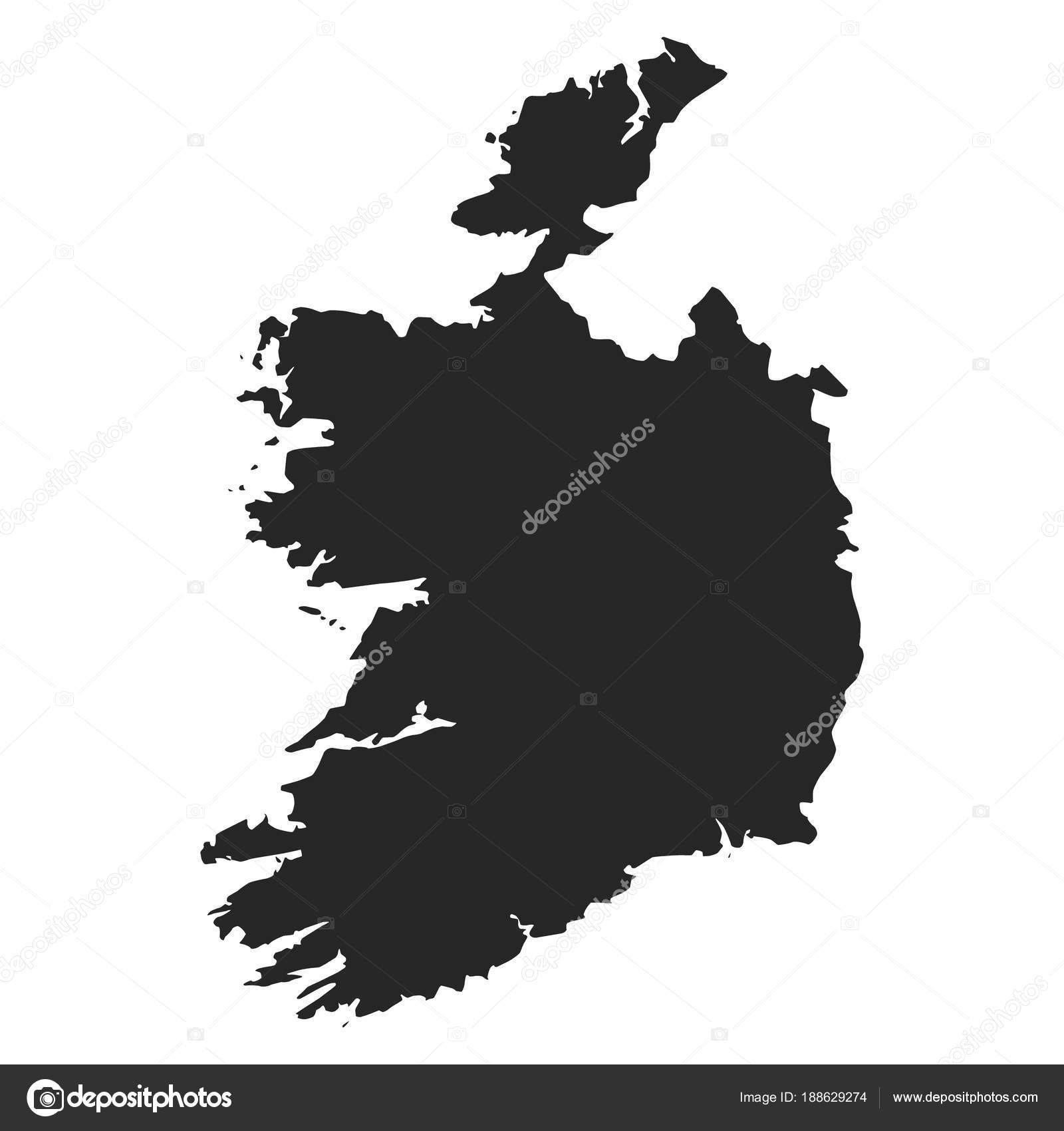 Carte Irlande Simple.Irlande Carte Simple Noir Blanc Silhouette Image