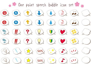 Hand-painted speech bubble and mini icon set