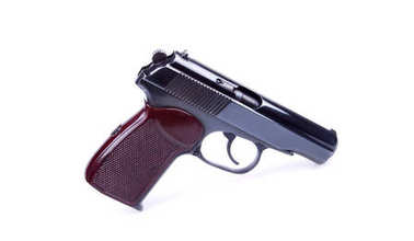 The Makarov pistol or PM is a Russian automatic gun isolated on white background.