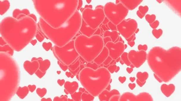 3d Nekonečná smyčka Srdce létající na bílém pozadí. Symboly lásky k Happy Women s, Den matek, Valentýna, narozeninový pozdrav design.