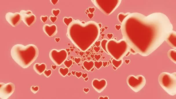 3d Nekonečná smyčka Srdce létání na růžovém pozadí. Symboly lásky k Happy Women s, Den matek, Valentýna, narozeninový pozdrav design.